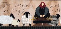 Wool Applique with Embroidery Pattern - A Gentle Life - sheep - wool - Proverbs 31 woman - TTB #205 by SimplyUniqueBySheila on Etsy