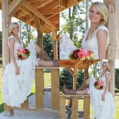 High Low Country Style Lace Wedding Dresses V Neck Cap Short Sleeve Bridal Dress