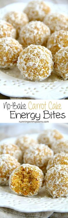 No-Bake Carrot Cake Energy Bites -- easy nut-free energy bites that are gluten-free, vegan, and taste just like little poppable bites of carrot cake! All clean eating ingredients are used for these healthy snack bites. Pin now to make later. Vegan Desserts, Raw Food Recipes, Snack Recipes, Dessert Recipes, Cooking Recipes, Healthy Recipes, Pretzel Recipes, Paleo Dessert, Detox Recipes