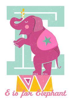 E is for Elephant A3 print Scandinavian by SaraBlueCreative