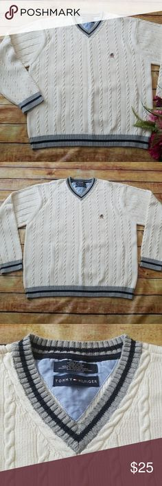 🕴New Listing 🕴Men's Tommy Hilfiger Sweater, 2XL Gorgeous Cable Knit Sweater. Tommy Hilfiger,  2XL. Cream with gray & navy accents at neckline, sleeve cuffs and bottom hem. EUC! My husband wore this once. Tommy Hilfiger Sweaters V-Neck