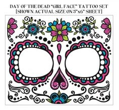 day of the dead face tatoos (facial details, with drawings)