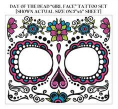 Ladies Day of the Dead Sugar Skull Face Tattoo Girl Face Tattoo, Girl Tattoos, Tattoos For Women, Male Tattoo, Tatoos, Temporary Face Tattoos, Los Muertos Tattoo, Day Of The Dead Girl, Morris Costumes