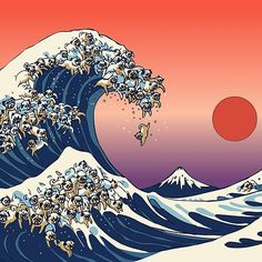 The Great Wave of Pug Art Print by huebucket Pug Wallpaper, Waves Wallpaper, Japanese Waves, Japanese Art, Hokusai Wave, Katsushika Hokusai, Tattoo Oriental, Wave Drawing, Frida Art