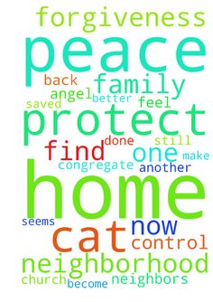 forgiveness and protection -  Heavenly Father, we need you now more than ever. Please protect our home, neighborhood, family, animals, and help us get help for the cats we are rescuing. Please take the cat that we found poisoned be the only one that gets hurt and that it may become an angel to help us. please help our home and our finances and our family be protected with the blood of Jesus. We just got back and everything seems out of control and now we saved another kitten. Please help my…