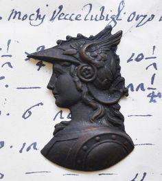 God Mercury Hermes bust stamping black patina by CalliopesAttic, $4.00