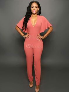 11d3fd8fe3f Women Sexy Jumpsuit V Neck Butterfly Sleeve Tapered Fit Casual Jumpsuit   Jumpsuit
