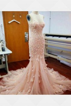 Gorgeous Long Real Made Wedding Dresses,Pink Sweetheart Prom Dresses,Mermaid Wedding Dresses,Wedding Gowns,Applique Long Bridal Dresses Prom Dresses Long Pink, Tulle Prom Dress, Sexy Dresses, Dress Long, Blush Dresses, Dresses 2016, Lace Dresses, Dress Formal, Prom Long