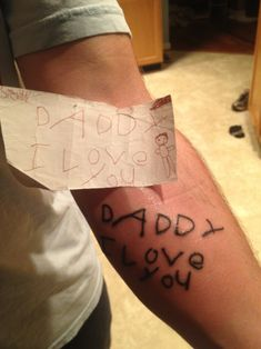 What an inspiring idea for a post-mastectomy tattoo. Have your son or daughter write you a note and have that note tattooed. [p-ink.org]