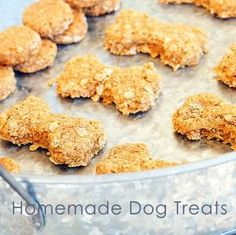 homemade dog treats, so easy! oats, beef/chicken broth, egg and salt! then bake ツ