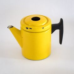 Yellow Finel Enamel Coffee Pot   This is the smaller of the two coffee pots designed by Antti Nurmesniemi for Finel Arabia in 1957. It's bright yellow and measures 16cm high by 20.5 cm spout to handle. There are small chips to the inside of the pot... Vintage Tea, Bright Yellow, Kitchenware, Pots, Two By Two, Chips, Enamel, Handle, Coffee
