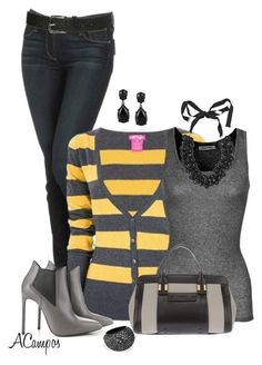 """""""Striped Cardigan"""" by anna-campos ❤ liked on Polyvore"""