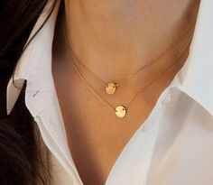 Gold Two Layer Circle Pendant Necklace