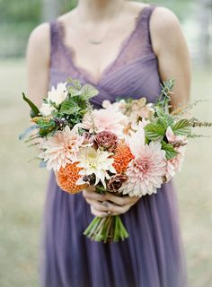 Bridesmaid bouquet of autumn dahlias with plum accents.  Grown and designed by Love 'n Fresh Flowers.  Photo by Maria Mack Photography.