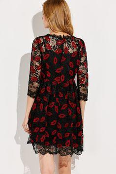 Mesh Embroidered A Line Dress Black Formal Dress Short, Short Sleeve Dresses, Formal Dresses, Lingerie Dress, Mesh Dress, Wedding Party Dresses, High Waisted Shorts, Flare Dress, Cold Shoulder Dress