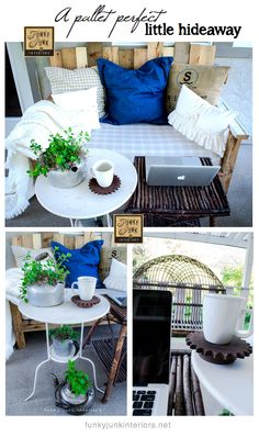 A PALLET SOFA decked out for summer — perfect for writing and blogging. (via Funky Junk Interiors)