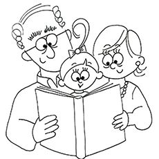 Printable Grandparents Day coloring page. Free PDF