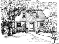 House Portrait in Ink 8x 10 in 11x 14 mat by maryfrancessmith
