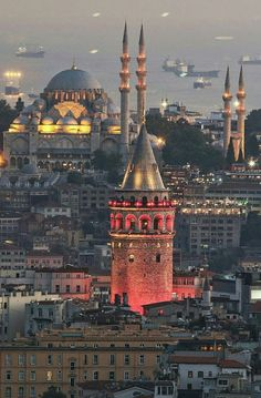 A gorgeous city with its Galata Tower and Sultan Ahmet Mosque Istanbul, Turkey Istanbul City, Istanbul Travel, Hagia Sophia, Beautiful Mosques, Beautiful Places, Places Around The World, Around The Worlds, Visit Turkey, Blue Mosque