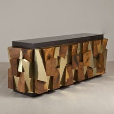 A Burr and Brass Faceted Paul Evans Cabinet for Directional