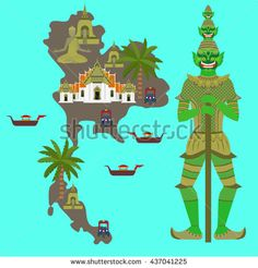Map with Thailand symbol, marble Temple Benchamabophit, Guardian Giant Yaksha, Buddhist stupa - chedi, Traditional long-tail boat, Thai taxi vehicle Tuk Tuk, sculpture of Buddha vector - stock vector