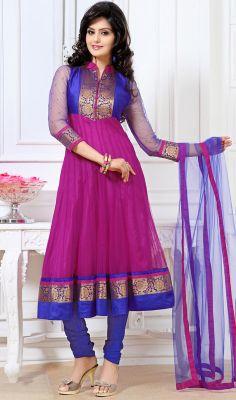 Blue and Magenta Raw Silk and Net Anarkali Suit #indianchuridar #best-salwarkameez