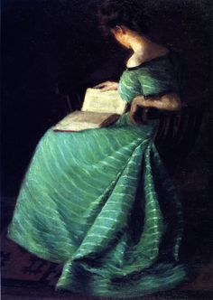 """Woman in an emerald green striped dress studying the book in her lap. """"Girl in Green (Sara Hayden )"""" painted in 1899 by William Merritt Chase"""