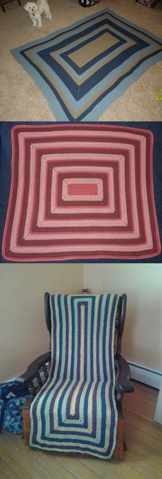 UNHOLY RECTANGLE:: FREE pattern by Melinda Miller.  ** Explains very simply how to calculate the beginning chain depending on what the finished size should be.  Can be used with other stitches, too.  Pics from Ravelry Project Gallery.