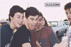 Shawn Mendes, Nash Grier, Jack Gilinsky, Cameron Dallas, and a random lady in the back