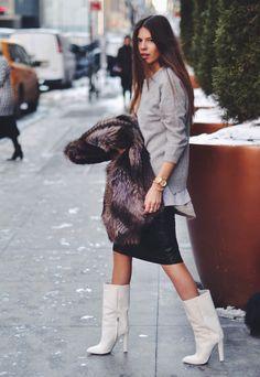 grey layers + fur + leather midi skirt + cream boots