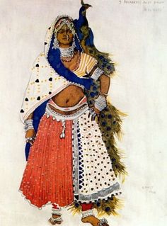 Le dieu bleu, Bayadere with Peacock  Artist: Léon Samoilovitch Bakst costume design for Diaglilev's Ballet Russes