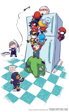 Baby avengers vs. the fridge… Like Muppet Babies!! I'd watch it. ;)