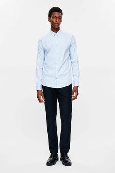 COS image 1 of Slim-fit cotton shirt in Pale Blue