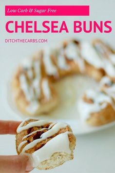 The best and easiest low carb chelsea buns you'll ever find - seriously, these taste so good and so low in carbs. Paleo, grain free, sugar free and low carb Sugar Free Snacks, Sugar Free Recipes, Almond Recipes, Sweet Recipes, Low Carb Sweets, Low Carb Desserts, Low Carb Recipes, Dessert Recipes, Diabetic Desserts