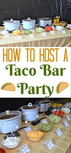 Cinco De Mayo Outfit Discover Taco Bar Party - Table Tents Free Printables How to Host a Taco Bar Party! Great for Taco Tuesday and gatherings. Use these free printable table tents to create a perfect taco bar party! Festa Party, Snacks Für Party, Party Ideas, Party Food Table Ideas, Brunch Party, House Party, Breakfast Party, Perfect Tacos, Recipes