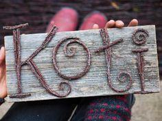 Letters made with brushwood: Koti - Home Twig Crafts, Nature Crafts, Wood Crafts, Diy And Crafts, Crafts For Kids, Arts And Crafts, Wood Cone, Twig Art, Driftwood Projects