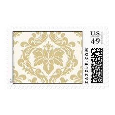 Wedding Postage Stamp | Ivory Gold Damask