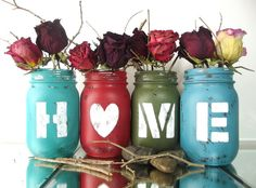 HOME set of Four 4 Hand Painted Mason Jars  di curiouscarrie