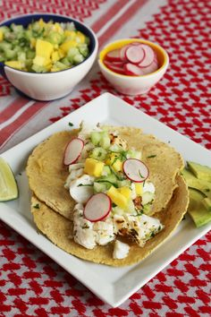 Grilled fish tacos with mango and cucumber salsa = yum!
