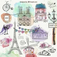 Purchase Paris City Decoration Collection Eiffel Tower Bridge Capital City Bedroom Living Room Dormitory Wall Hanging Tapestry from Shenzhen Wanweile Network Tech on OpenSky. Paris Kunst, Mini Album Scrapbook, Art Parisien, Image Paris, A Day In Paris, Illustrator, Doodles, Paris City, Doodle Drawings