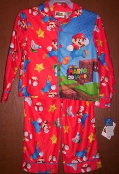 Super MARIO 3-D Land 2 piece Pajamas Boy's size 4/5 NeW L/S Flannel Pjs Set #nintendo #PajamaSets