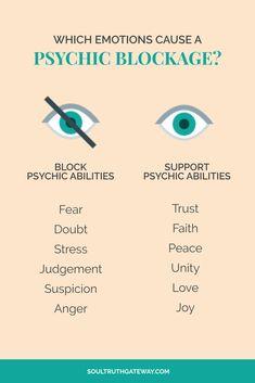 Which emotions cause a psychic blockage? Empath Abilities, Psychic Abilities, Psychic Powers, Psychic Development, Spiritual Development, Intuitive Empath, Psychic Mediums, Negative Emotions, Spiritual Awakening