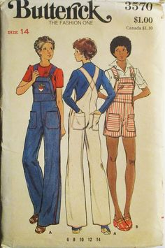 1970s Vintage Sewing Pattern Butterick 3570 Misses Overalls Pattern Size 14 Uncut by SewYesterdayPatterns on Etsy