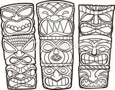 Image result for tiki totem pole drawing