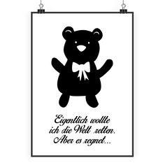 Poster DIN A2 Teddybär aus Papier 160 Gramm  weiß - Das Original von Mr. & Mrs. Panda.  Jedes wunderschöne Poster aus dem Hause Mr. & Mrs. Panda ist mit Liebe handgezeichnet und entworfen. Wir liefern es sicher und schnell im Format DIN A2 zu dir nach Hause.    Über unser Motiv Teddybär  Teddybären oder Knuddelbären sind heute nicht mehr nur bei Kindern beliebt. In jedem Kinderzimmer ist ein süßer flauschiger Bär zu finden. Der Teddy begleitet schon Generationen von Menschen durch ihre…