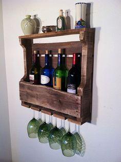 Wine Rack Rustic Primitive Handmade Small by GreatLakesReclaimed
