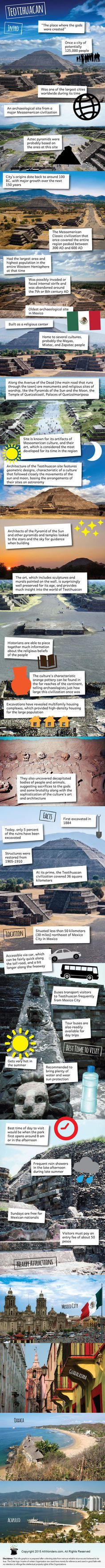 Teotihuacan Infographic showing Facts and Information about Teotihuacan in Mexico. Find out about its location, best time to visit, nearby attractions and more.
