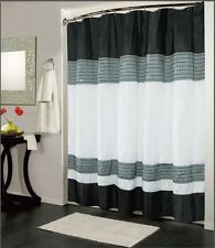 Incredible Black And White Bathroom Shower Curtain Set Red With Interior Design Tile Floor Accessory In A Small Picture Rug Image Shower Curtain Sets, Black Curtains, White Shower, Custom Shower Curtains, White Bathroom Decor, White Shower Curtain, Curtains Uk, Black White Shower Curtain, Luxury Curtains