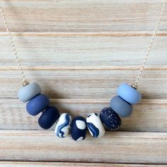 Navy blues necklace beaded necklace polymer clay by Rubybluejewels