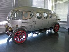 1914  A.L.F.A. 40/60 HP Silurio Ricotti or Aerodinamica Prototype was a very early attempt at making an aerodynamic automobile. The car was commissioned & designed by Count Marco Ricotti and built by Italian coachbuilder Carrozzeria Castagne, using the road/race A.L.F.A. 40/60 HP car. It featured the radiator and engine within the cabin, making for ease of mechanical work, out of the weather. This example is a replica built in the 70's and shown in the Alfa Romeo Historical museum.